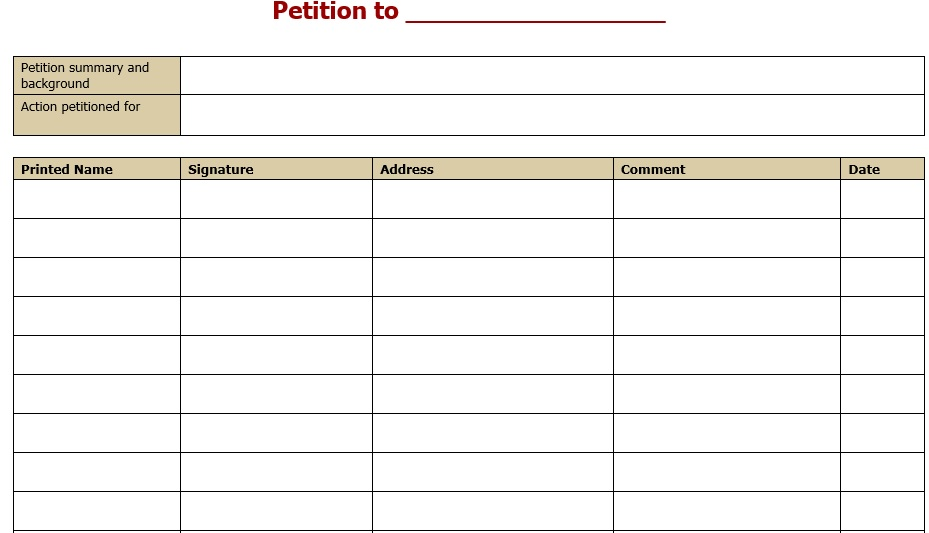 48 Free Petition Templates - TemplateHub