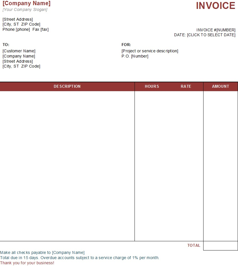Different Types Of Services Invoice Templates For Free TemplateHub - Create a commercial invoice for service business