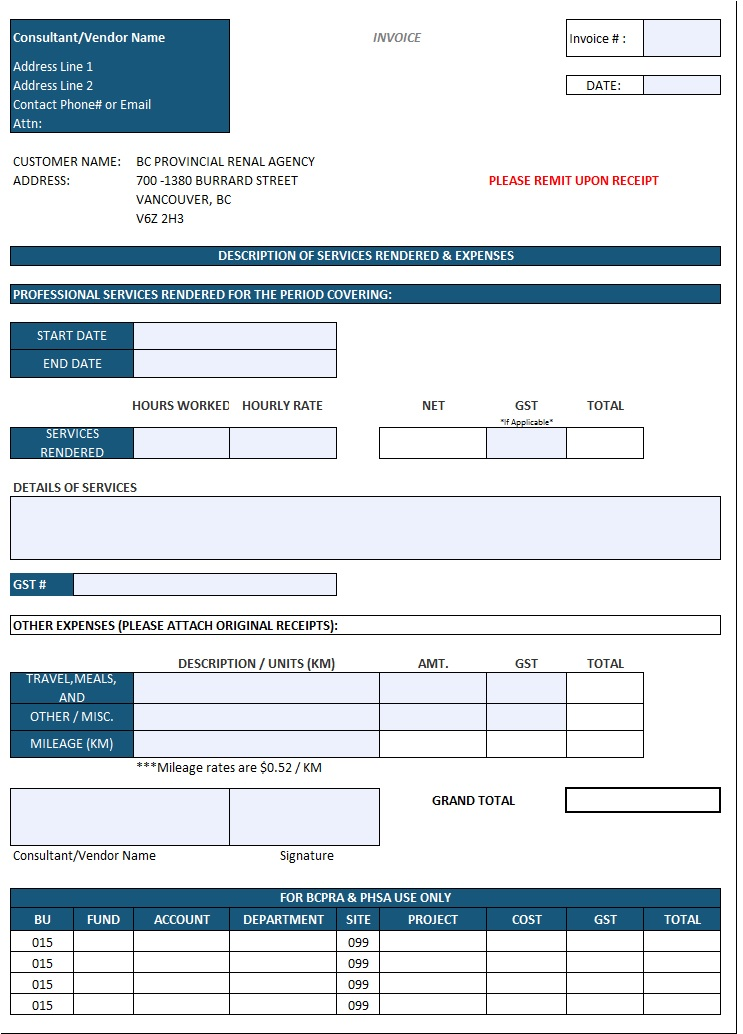 Invoice template for work done