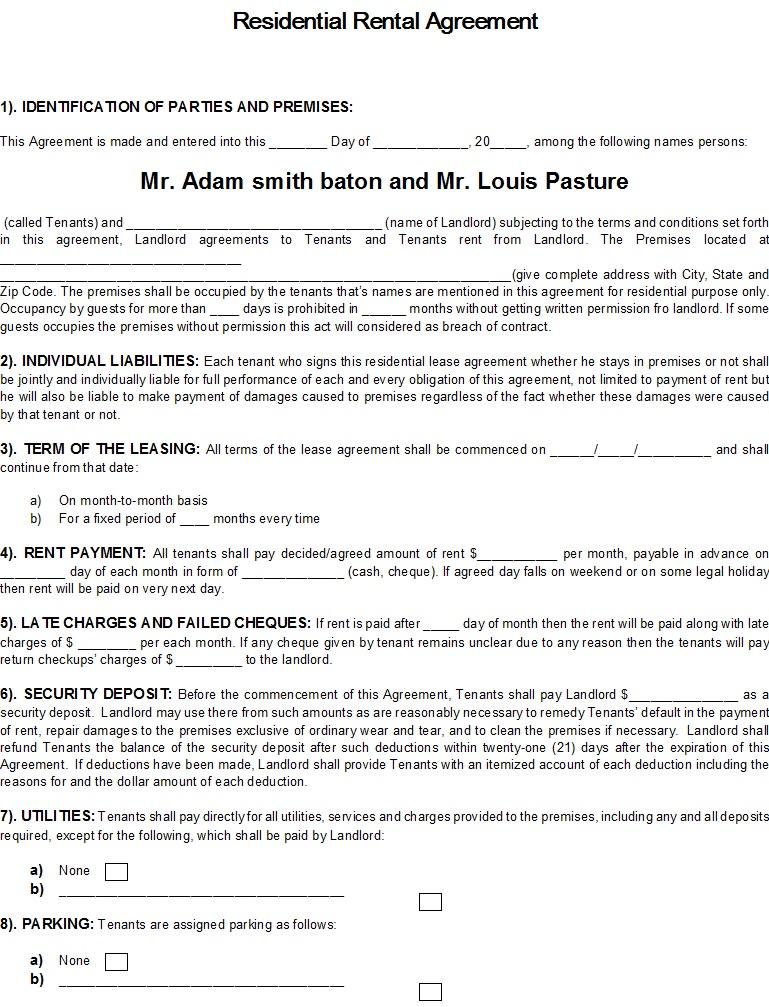 40 Rental Agreement Sample Templates Templatehub