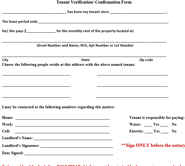 45 Free Tenant Verification Forms - (PDf and MS Word)- TemplateHub