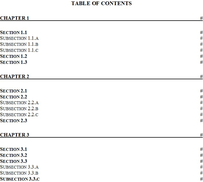 Table Of Content Template 1