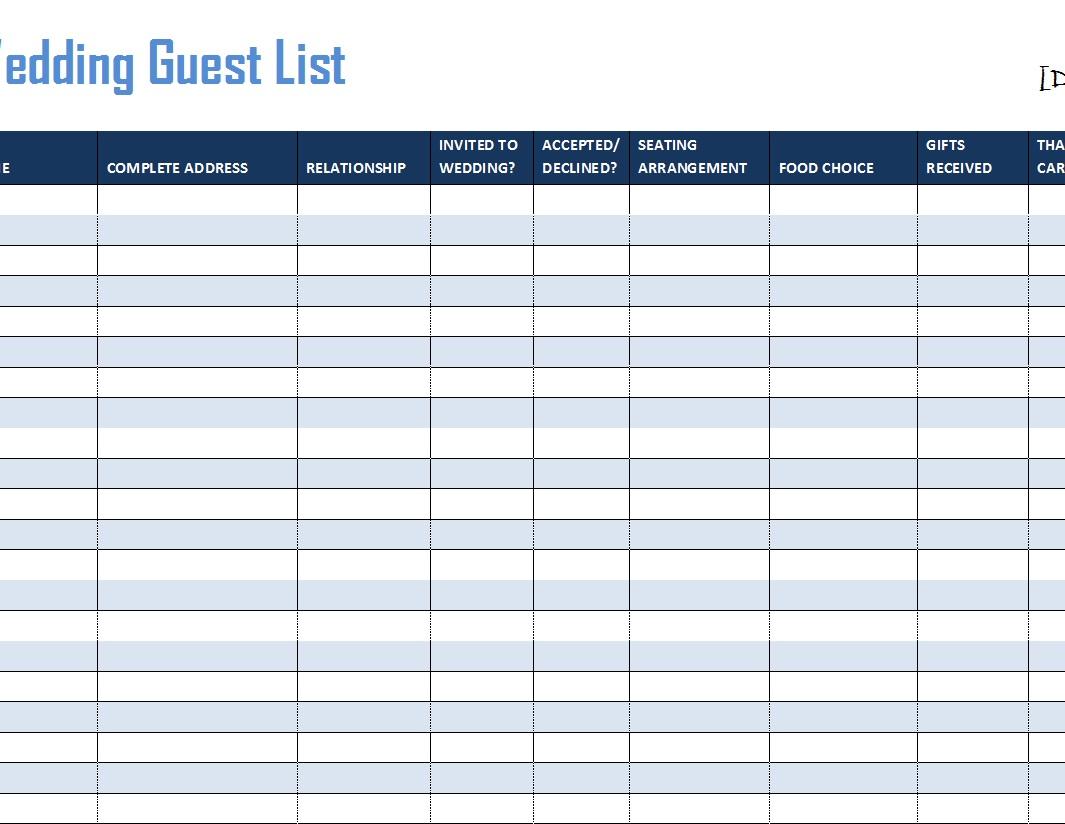 30 free wedding guest list templates templatehub