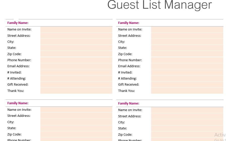 Wedding Guest List Template 15