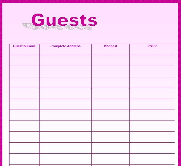Wedding Guest List Template 18