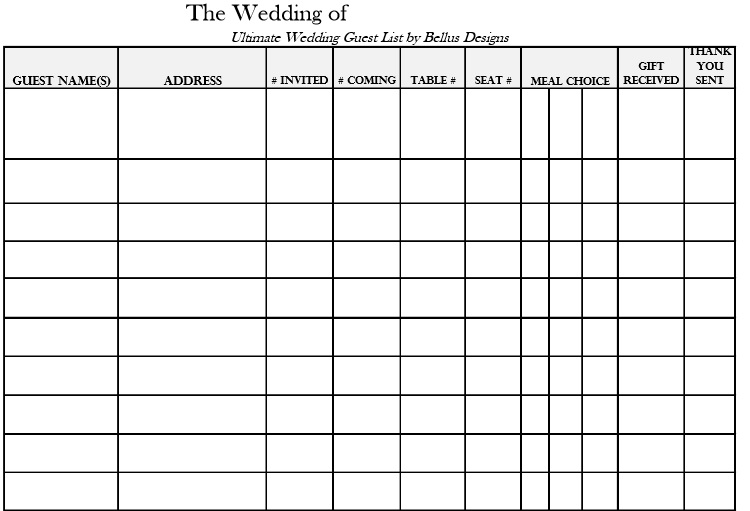 Wedding Guest List Template 2  Free Wedding Guest List Template
