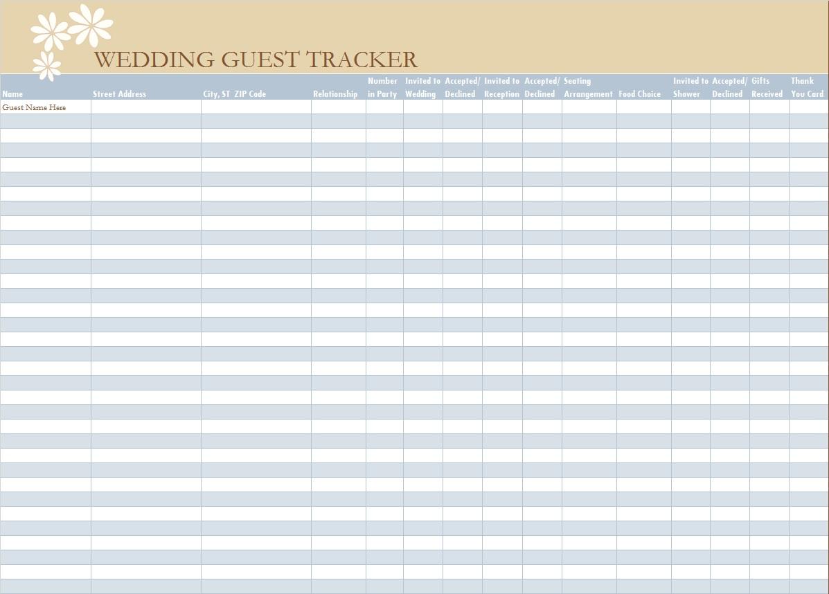 Wedding Guest List Template 26