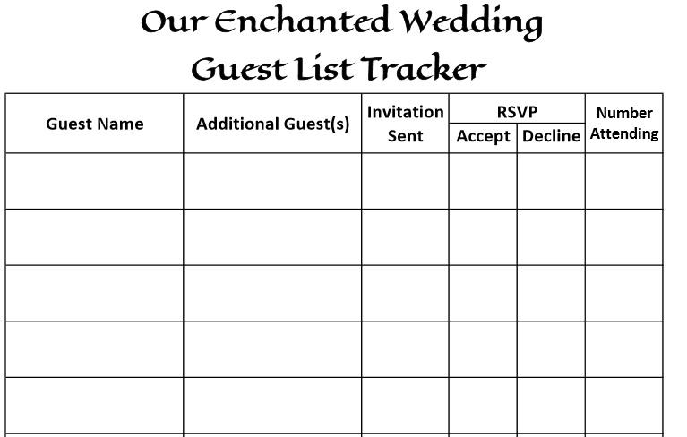Wedding Guest List Template 27