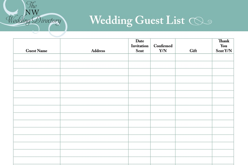 Free Wedding Guest List Templates  Templatehub
