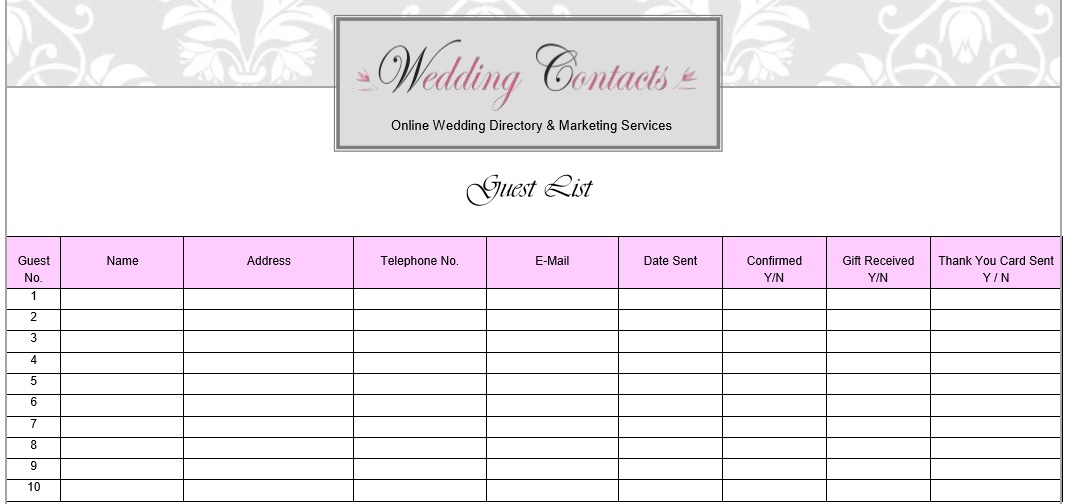 Wedding Guest List Template 3  Free Printable Wedding Guest List
