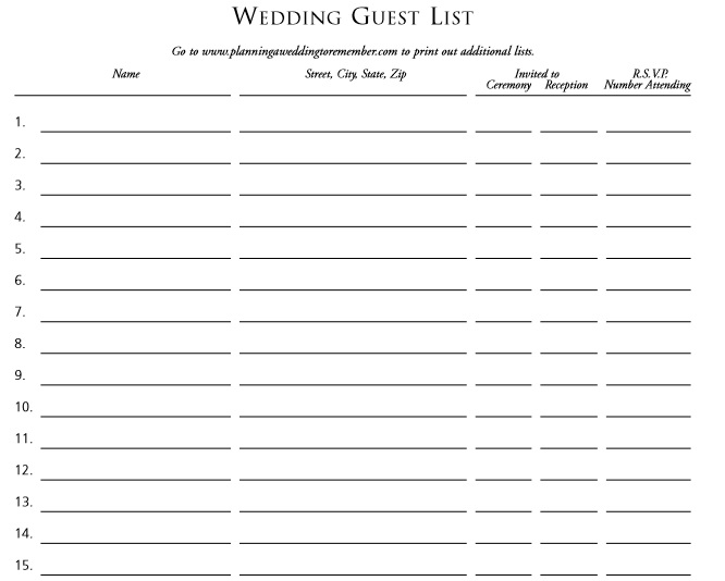 Tactueux image for printable wedding guest lists