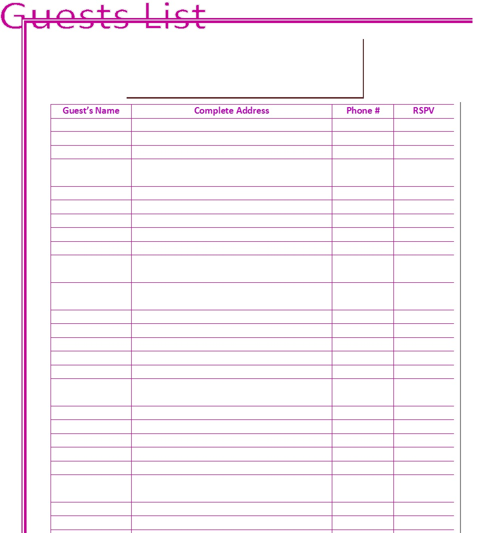 Wedding Guest List Template 4  Free Printable Wedding Guest List