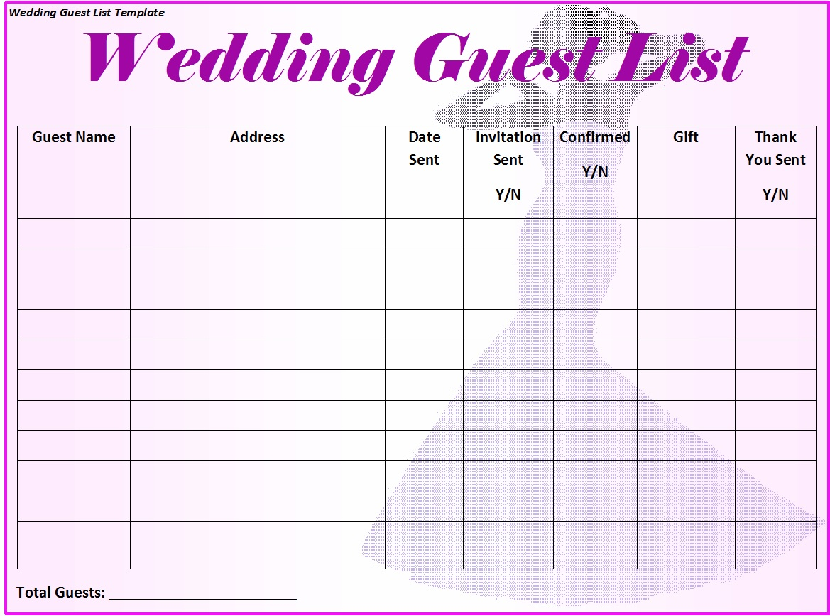 Wedding Guest List Template 5  Free Wedding Guest List Template