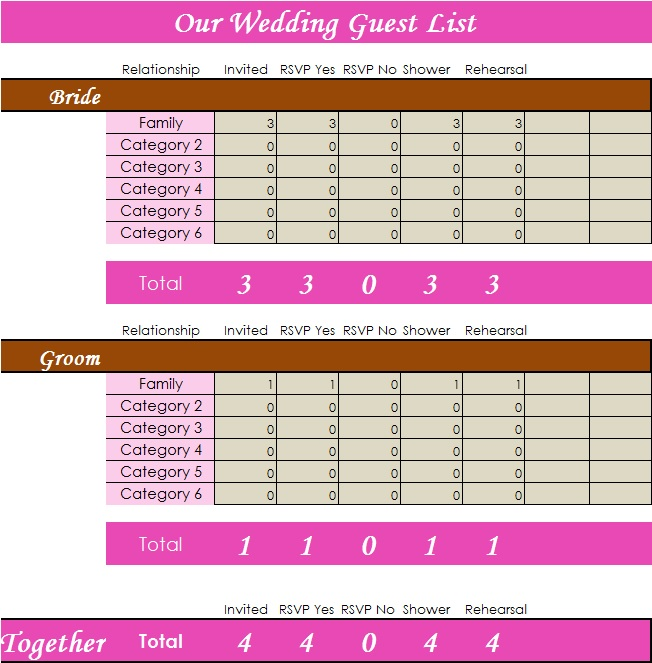 Wedding Guest List Template 6