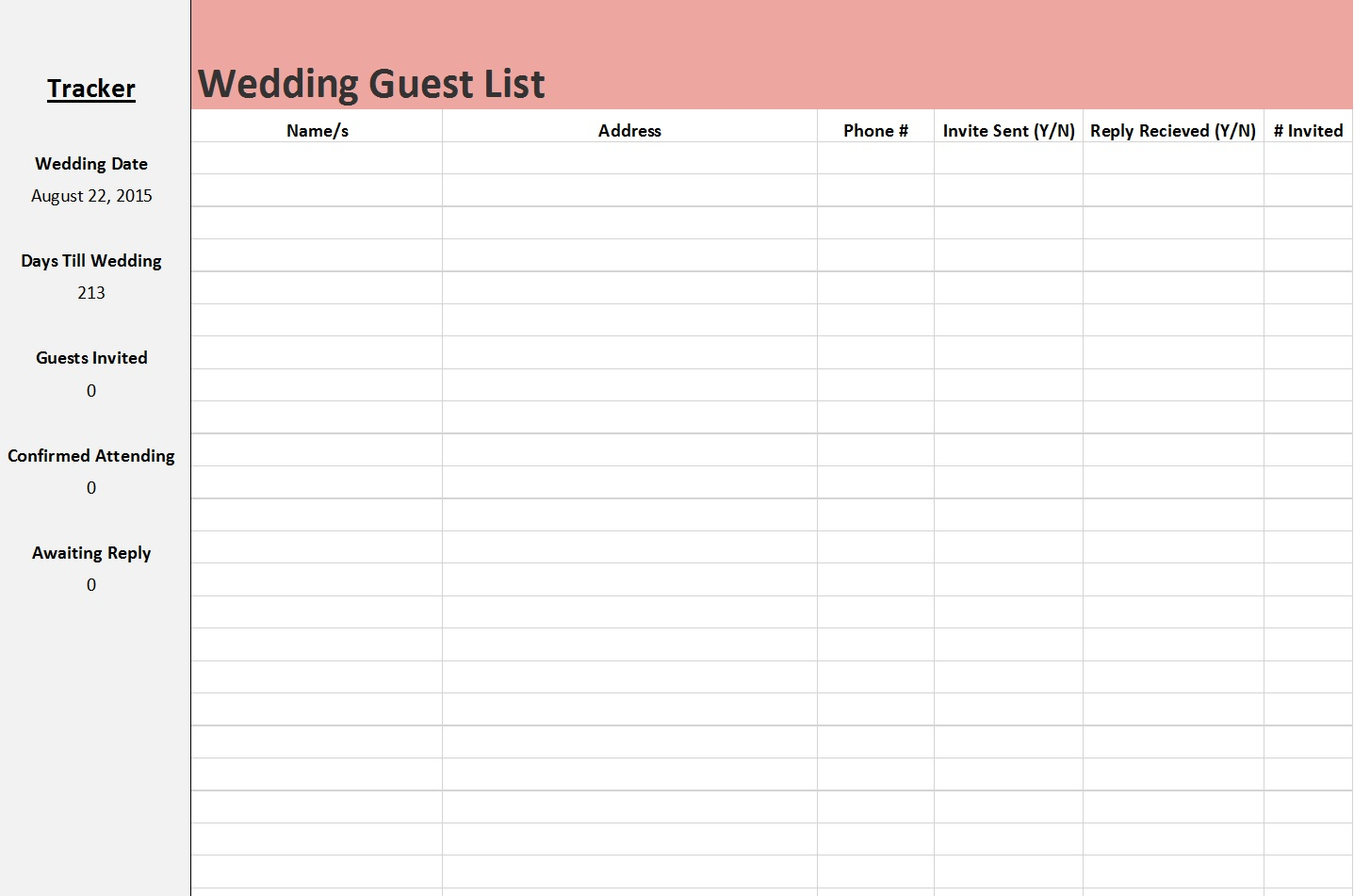 Wedding Guest List Template 7  Free Wedding Guest List Template