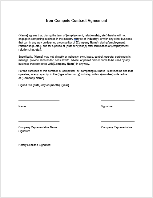 37 Free Non Compete Agreement Templates Ms Word
