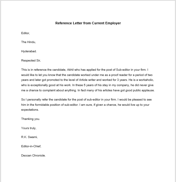Reference Letter For Employee from www.templatehub.org