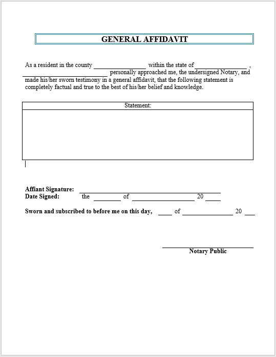 43 Free Sample Affidavit Form Templates in PDF and MS Word
