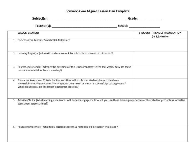 39 free lesson plan templates ms word and pdfs - Free Lesson Plan Templates
