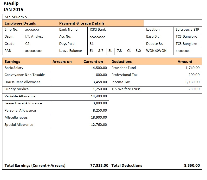 50  salary slip templates for free  excel and word