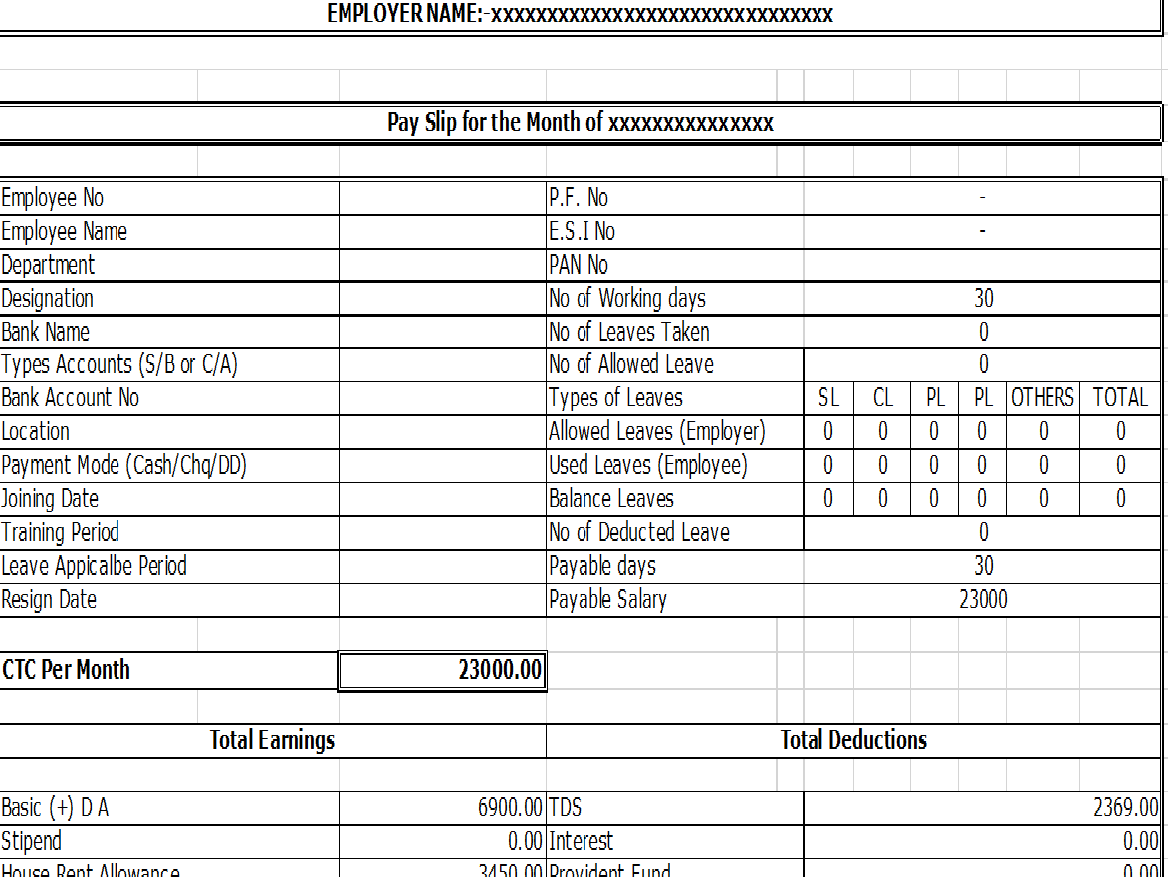 50 Salary Slip Templates For Free Excel And Word Templatehub
