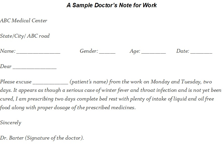 Doctors Excuse Letter Sample from www.templatehub.org