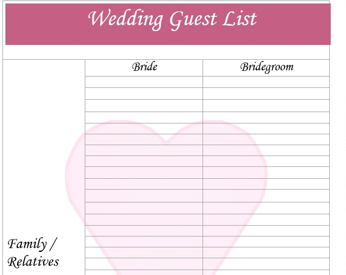 Wedding Guest List Template 1