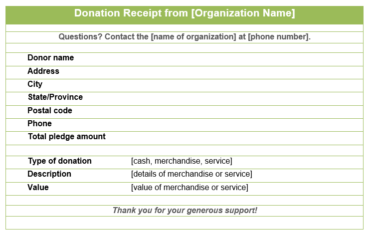 Donation Receipt Template 01