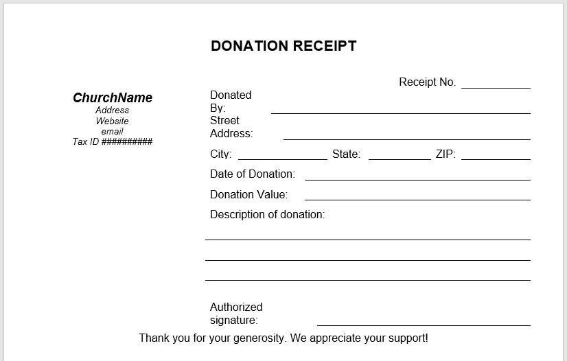 Donation Receipt Template 02