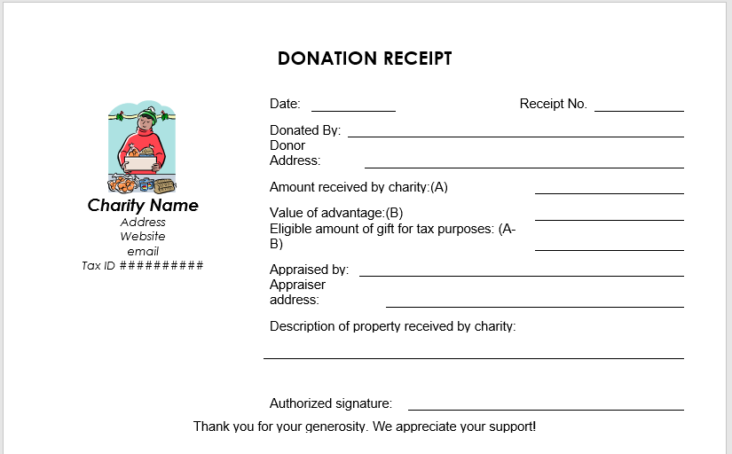 Donation Receipt Template 03
