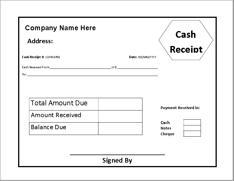 Printable Receipt Template 07