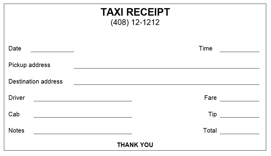 Taxi Receipt Template 03