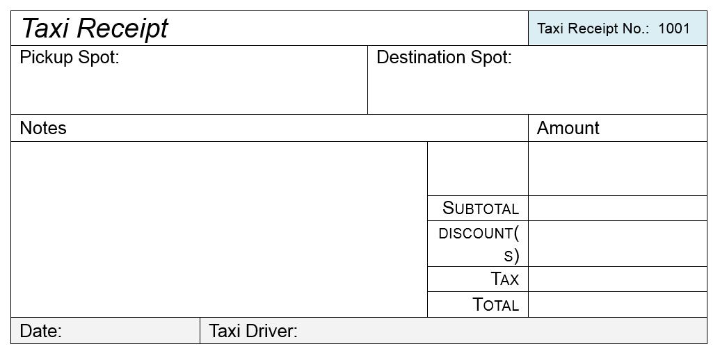 Taxi Receipt Template 04
