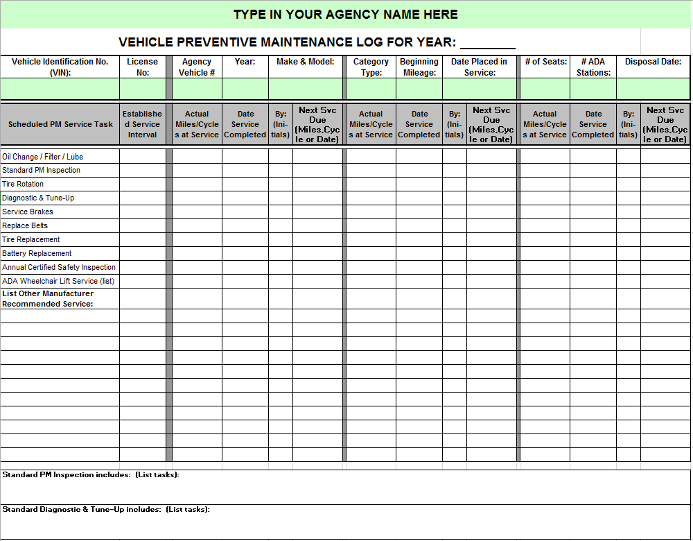 This is a picture of Smart Car Maintenance Log Printable