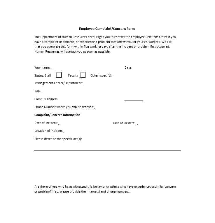 Employee Complaint Form 04