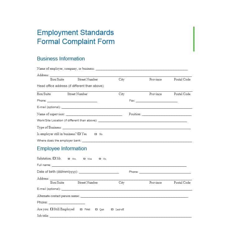 Employee Complaint Form 07