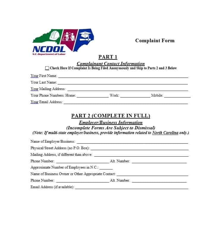 Employee Complaint Form 08
