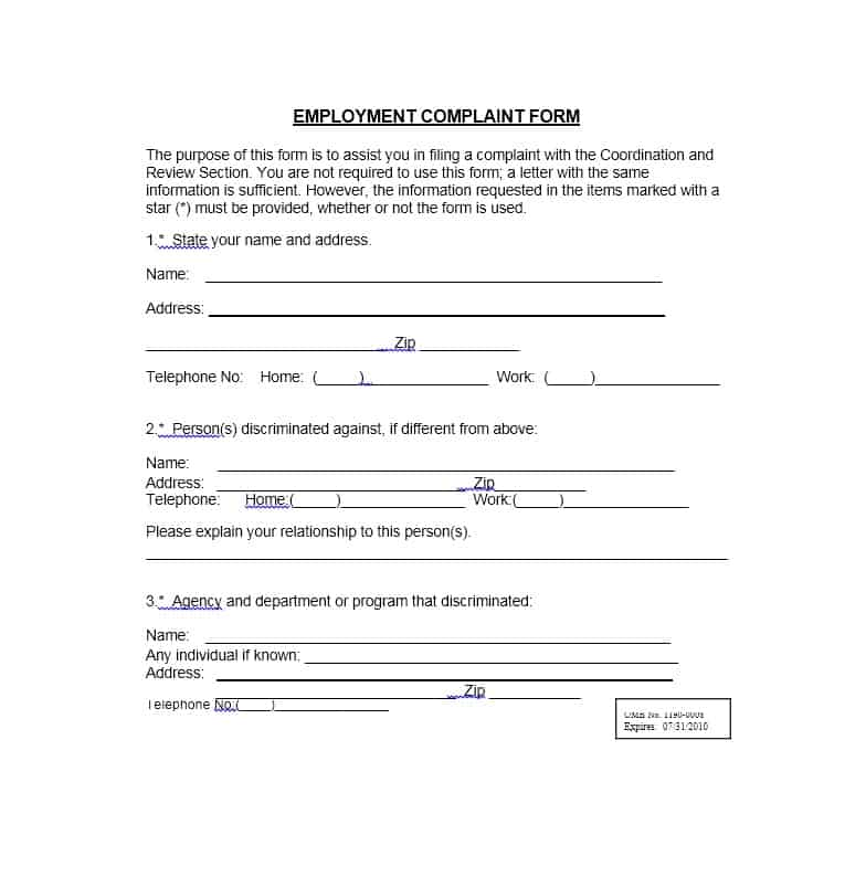Employee Complaint Form 11