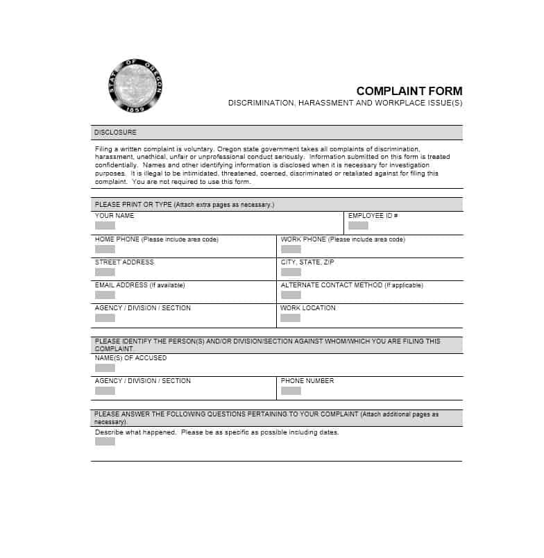 Employee Complaint Form 12