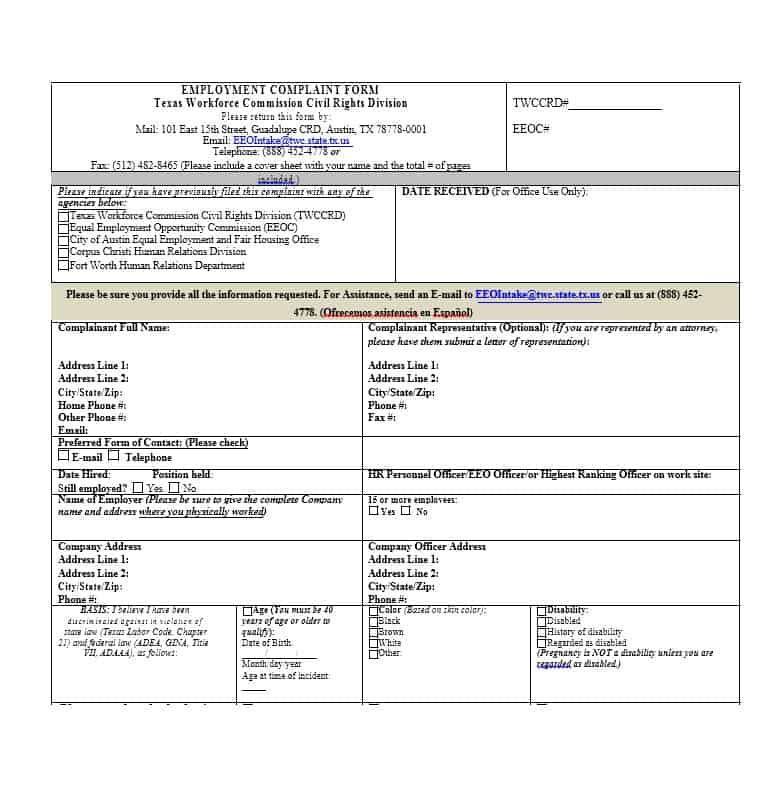 Employee Complaint Form 16