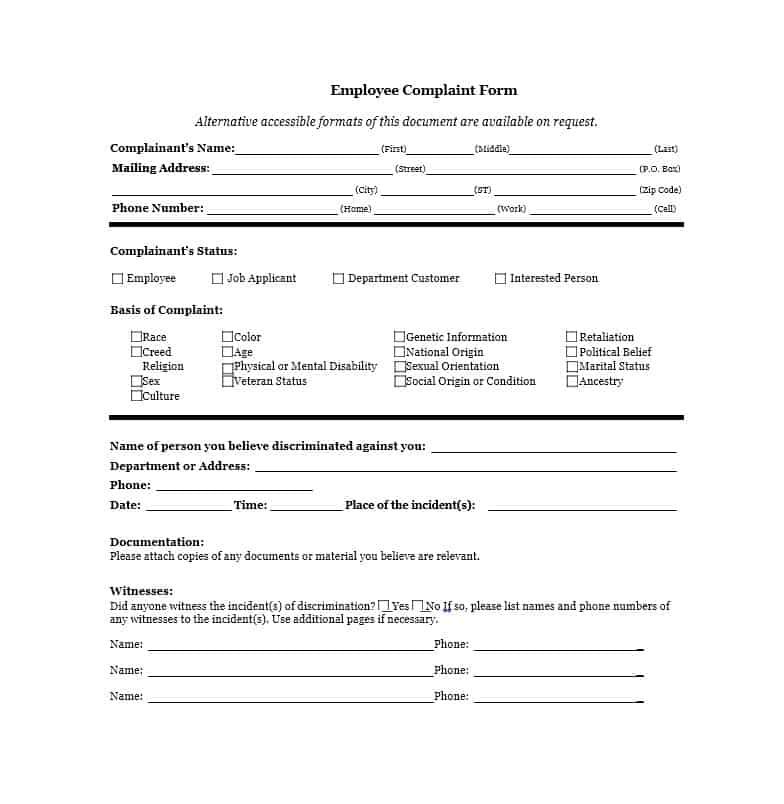 Employee Complaint Form 20
