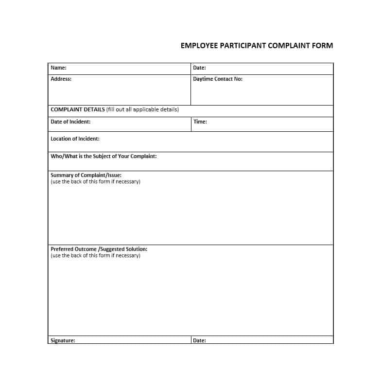 Employee Complaint Form 22