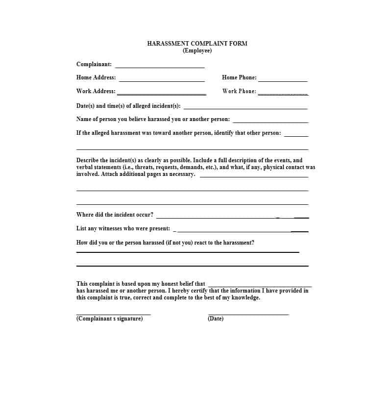 Employee Complaint Form 26