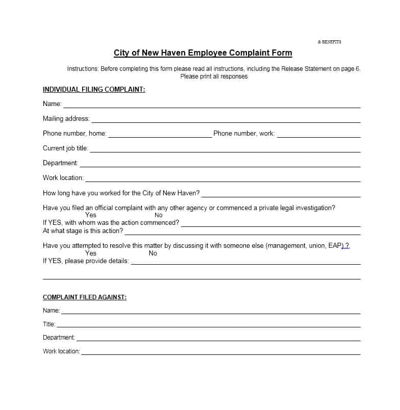 Employee Complaint Form 30