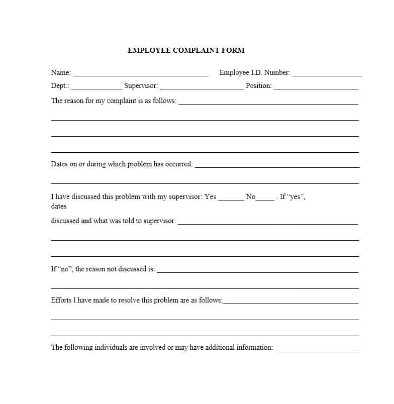 48 Free Employee Complaint Form Templates Ms Word Pdf Format