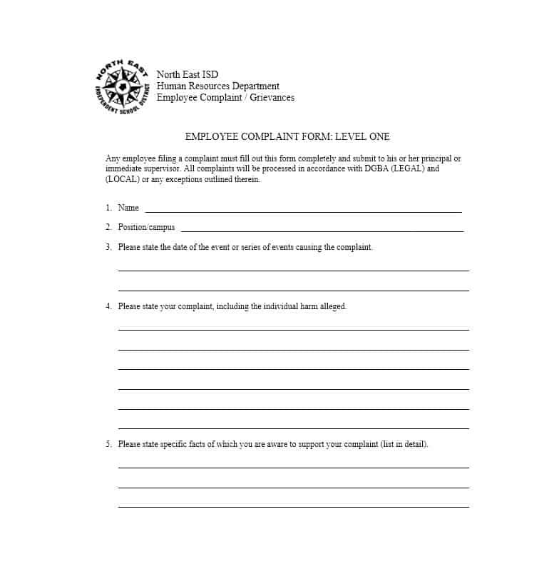 Employee Complaint Form 33