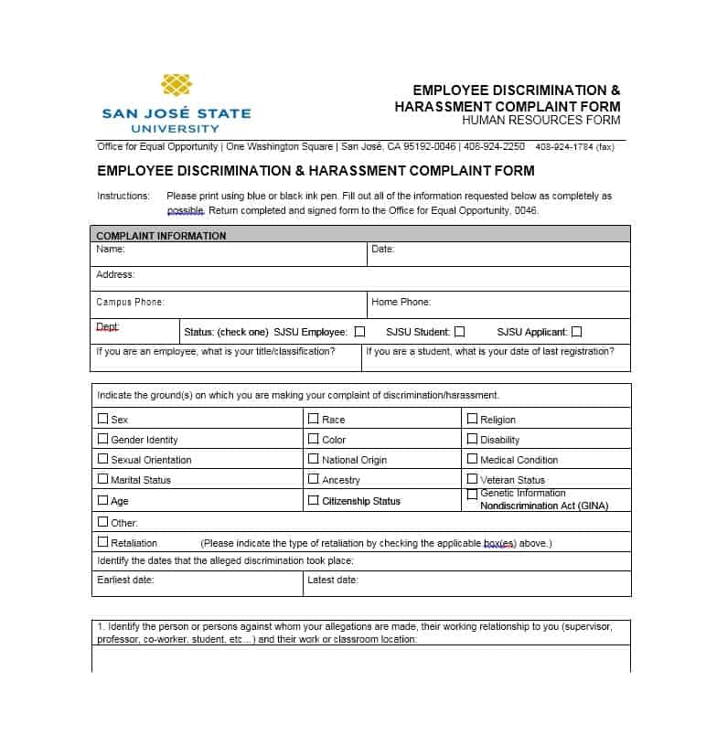 Employee Complaint Form 37
