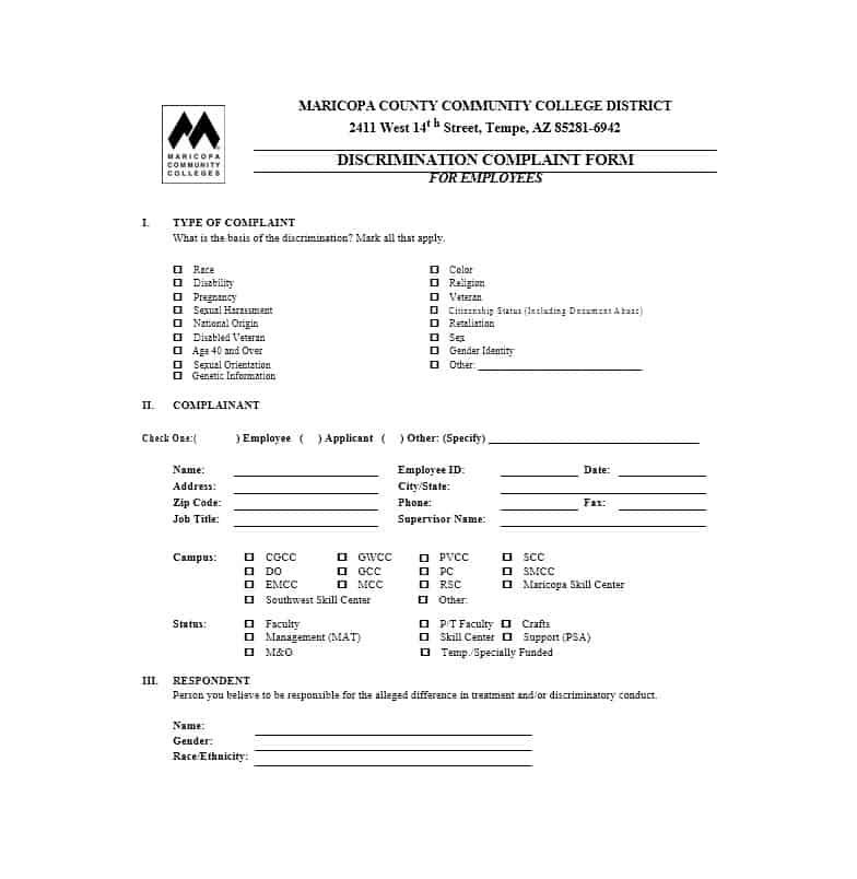 Employee Complaint Form 38