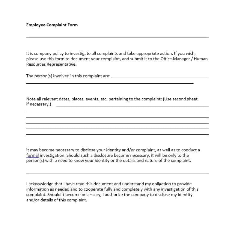 Employee Complaint Form 42