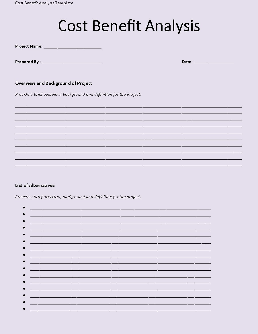 Cost Benefit Analysis Template 02